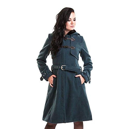 Vixxsin Moana lunga retro transizione cappotto con corno bottoni-Vintage Coat cappuccio con pelliccia bordo verde L