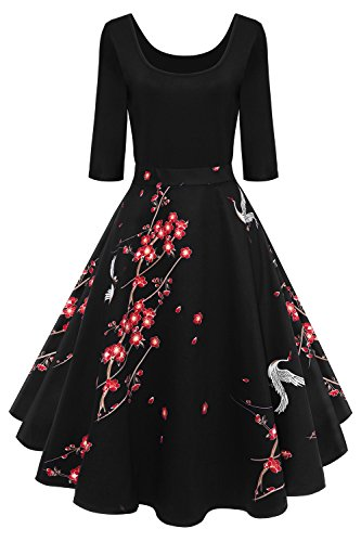 MisShow Damen Audrey Hepburn 50s Retro Vintage Bubble Skirt Rockabilly Swing Evening Kleider FS2226 Gr.3XL