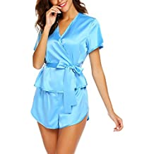 Avidlove Pijama Satén Mujer Sexy Kimono con Cinturón Elegante Corto Lenceria Seda,Suave,Cómodo