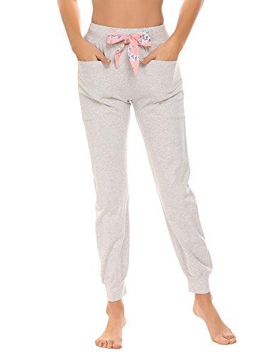 Damen lang Schlafanzughose Pyjamahose Nachtwäsche Hose Sleep Hose Pants aus Hochwertiger Baumwolle Mit 3 Taschen und Elastische Taille Schlafanzughose, Grau 8926, EU40(Herstellergröße:L) - Grüne Damen Sleep-pant