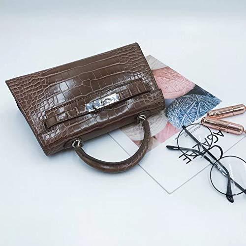 Kaffee Krokodil Tasche (Bedoliomini Kelly Bag Mini tragbare Krokodil Diagonale Diagonale Tasche vielseitige Umhängetasche, Kaffee)