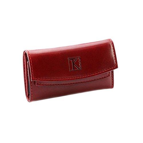TK 1979 - 3 EN 1 porte-clés/porte-monneie. portefeuille cuir rouge ROOSO TK069 Idée cadeau homme femme - Rouge, Cuir