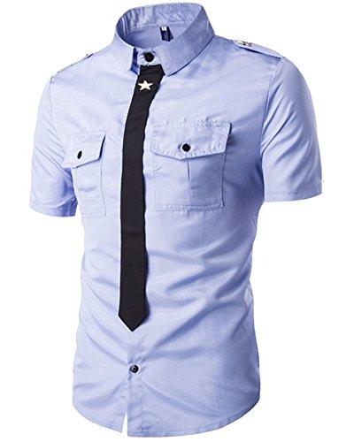 Chemise à Manches Courtes Slim Fit Tops pour Homme Bleu