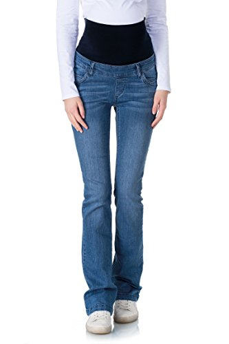 bellybutton Maternity Damen Jeans Bootcut mit Überbauchbund Umstandsjeans, Blau (Blue 0013), 32 -