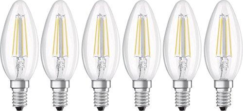 OSRAM LED Leuchtmittel, Glas, E14, 4 W, Kaltweiß, 9.7 x 3.5 x 3.5 cm, 6 Einheiten
