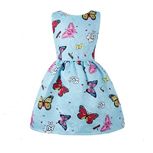 Baby mädchen Schmetterling baumwolldruck Prinzessin Kleid ärmellose Outfits Mädchen Kleid & Rock O-Ausschnitt Abend Party Kleider ()