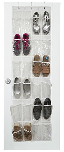 The Door Schuh-Organizer mit 24 verstärkten Taschen. Organisieren Sie Ihre Schuhe mit diesem Schuhregal über der Tür und sparen Sie Platz. Zum Aufhängen an Standardtüren mit 3 Türhaken aus Stahl