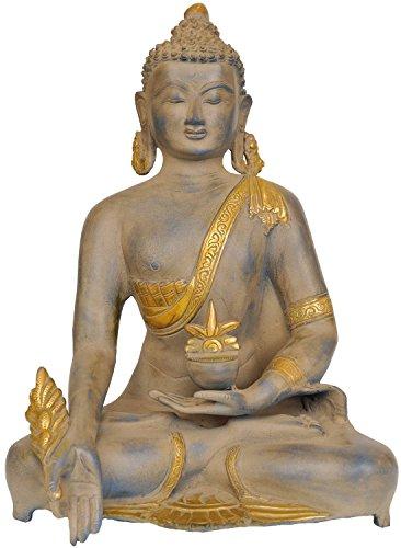 CraftVatika grande Latón Buda statue-medicine Pose Antiguo Acabado Escultura budismo tibetano antiguo Figuras