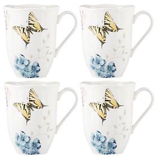 Lenox 869578 Tasse mit Schmetterlingswiese, Hortensien, 4 Stück Butterfly Meadow Tee-set
