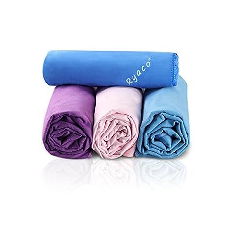 Ryaco [Schnelltrocknend & Antibakteriell] Mikrofaser handtücher, reisehandtuch zum Sport, Haar, Fitnessstudio, Fitness, Yoga, Schwimmen - Super saugfähig & Premium Qualität! Mit freiem Wasserresistenz-Aufbewahrungsbeutel