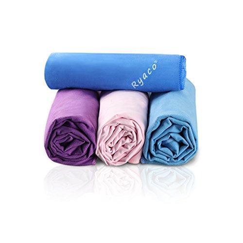 Ryaco - asciugamani in microfibra da palestra, spiaggia, sportive, viaggio, campeggio, nuoto, yoga o bagno, rosa, 150cm x 80cm