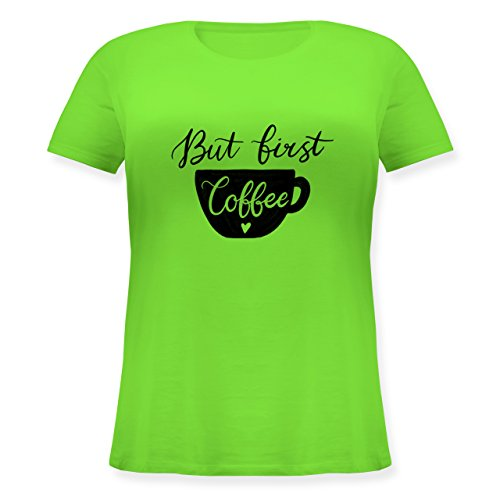 Shirtracer Statement Shirts - But First Coffee - Kreide-Lettering - S (44) - Hellgrün - JHK601 - Lockeres Damen-Shirt in Großen Größen mit Rundhalsausschnitt