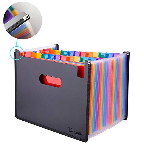 Expanding File Folder - Uquelic Large Plastic Rainbow