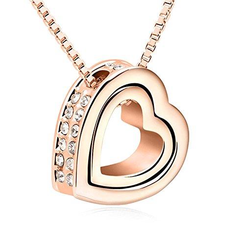 Klar, Satin-gold Anhänger (URBANSTYLES - Damen-Kette mit Herz Anhänger - Hals Kette mit Zirkonia Kristallen - Schmuck in Roségold)