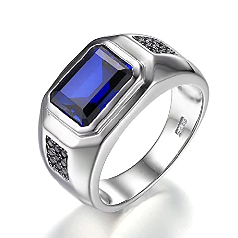 Jewelrypalace Men Fashion 4.3ct Square Creat Blue Sapphire Ring 925