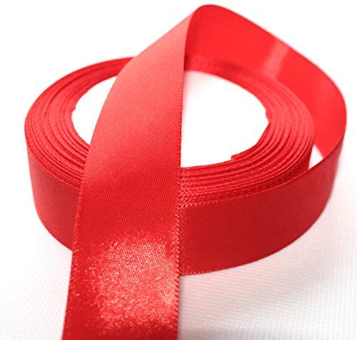 CaPiSo® 22m Satinband 25mm Breite 2,5cm Schleifenband Geschenkband Dekoband Weihnachten Hochzeit (Rot, 22m) (Band Rot)