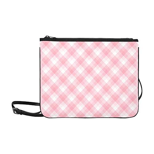 WYYWCY Girls'pink Lattices Pattern Benutzerdefinierte hochwertige Nylon-dünne Clutch-Tasche Umhängetasche mit Umhängetasche -
