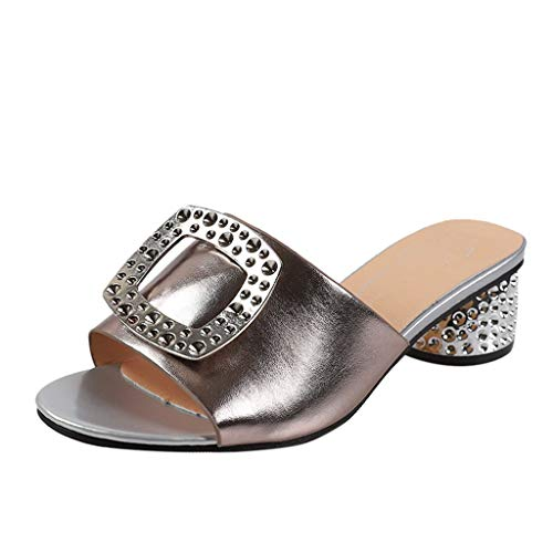 EUCoo_shoes Sommer Damen Hausschuhe Liquid Metallic Sandalen große quadratische Schnalle Größe Kristall Ferse Mode Hausschuhe 35-40(Khaki, 35)