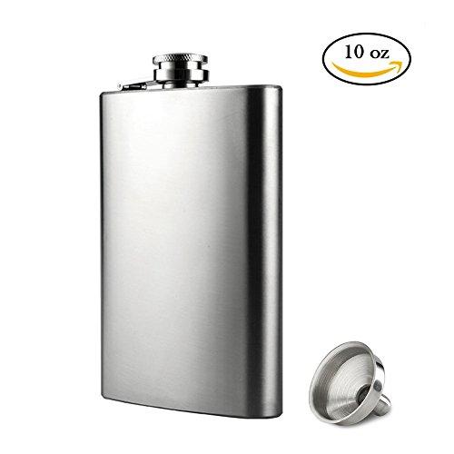 Flachmann Edelstahl 10 oz/284ml mit Trichter, Silber