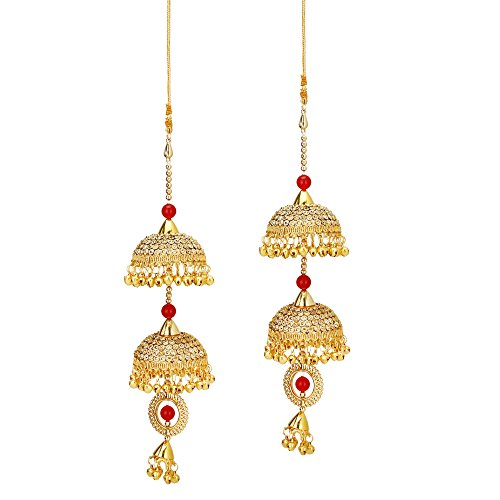 Sanjog Golden Jhumki and Red Stone Kaleera Kalira Set for Women Bridal-Pack of 2