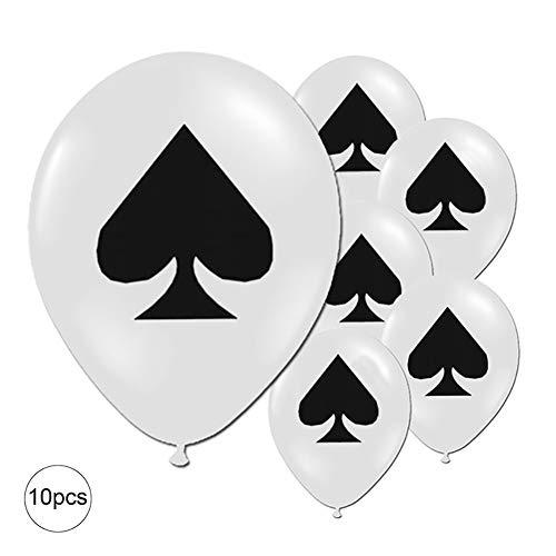 Newin Star 30,5 cm Partyballons Latex-Luftballons Spielkarte Desgin Ballon Geburtstag Ballons für Party Abschlussball Junggesellenabschied Party Karten Bingo Casino Nacht Dekoration 10 Stück - Spaten