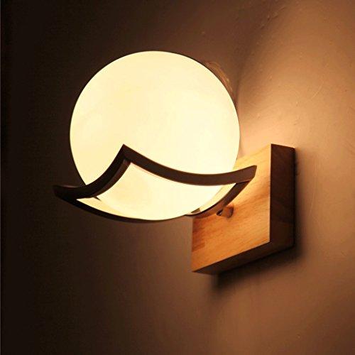 verre Ball lampe murale salon Restaurant mur de la chambre lampe Designer simple matériau bois mur créatif bois