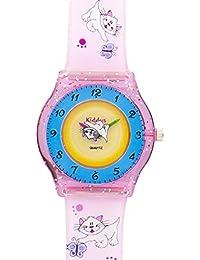 Reloj niña chica infantil, de aprendizaje educativo analógico de cuarzo GATO gatito mariposa en caja de regalo, Resistente al agua, Mecanismo Seiko, Batería Sony, Rosa y azul, Kiddus modelo 9