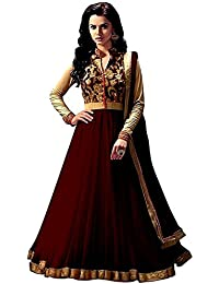 Rensil Women's Banglori Silk & Net Anarkali (RIE_Angel Brown Anarkali_Brown & Beige_Free Size)