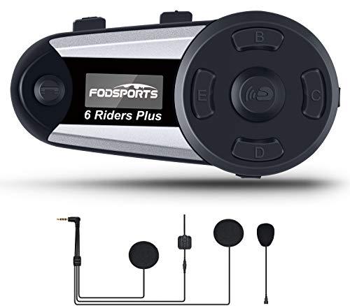Intercomunicador Casco Moto, Bluetooth para Moto Manos Libres Sistemas de comunicación,1200m 6 Jinetes Interfono inalámbrico para Motocicleta (Pantalla OLED/Recordatorio de Voz/GPS / 2 Mic)
