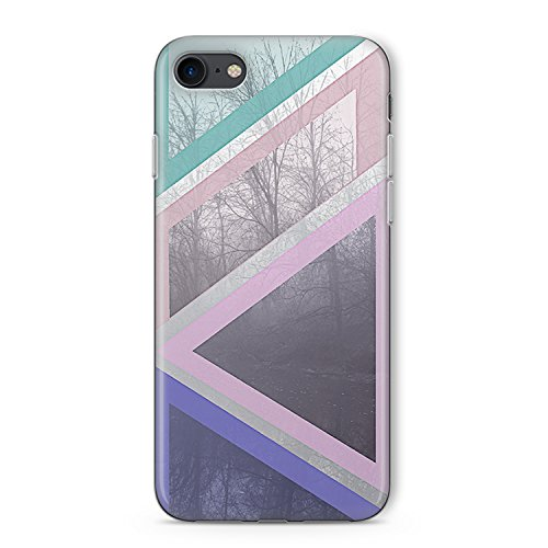 Elastic Slim Transparent TPU iPhone 7und iPhone 8Fall mit Pastell Bäume Geometrische Formen Dreamy Design by kaladu