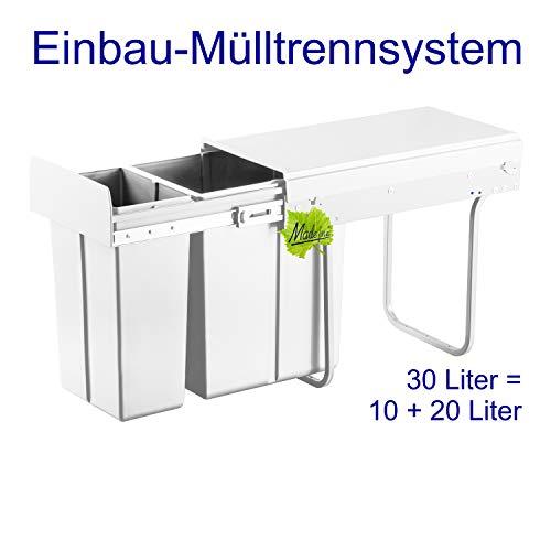 Made for us 30L Einbau-Mülleimer 10L+20L Küchen-Abfalleimer 2er Müll-Trennsystem 30 Liter Abfallsammler zur 2-Fach Abfall-Trennung im Unterschrank Mülltrennung für Spüle