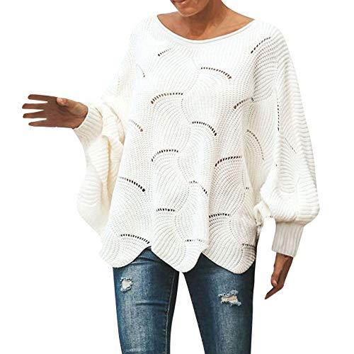 Dorical Fledermauspullover Damen Herbst Winter Schwarz Weiß Lang XXL Strickpullover Leichter Stylische Hochwertige Pullover Schicke Pullover Elegante Schöne Pullover