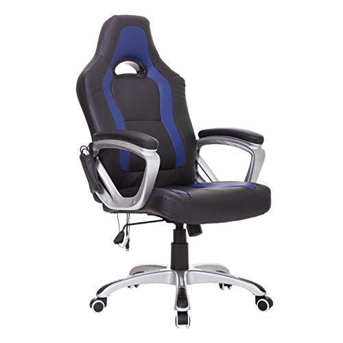 Homcom® Massagesessel Bürostuhl Chefsessel Racing Drehstuhl mit Wärmefunktion, Kunstleder, 64x68x(112-121)cm (Blau+Schwarz)