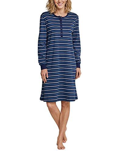 Schiesser Damen Nachthemd Sleepshirt 1/1 Arm, 100cm, Blau (Dunkelblau 803), 42