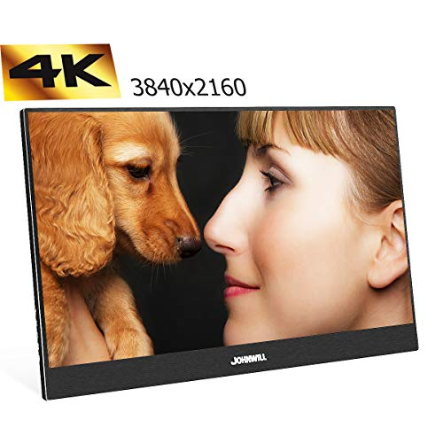 JOHNWILL 4K Monitor 13,3 Zoll Schwarz Tragbarer Monitor FHD 3840 x 2160 IPS-LCD-Monitor mit HDMI-Eingang, eingebautem Lautsprecher, Gaming-Monitor Unterstützung Raspberry Pi PS3 / PS4 / Xbox Fhd Lcd