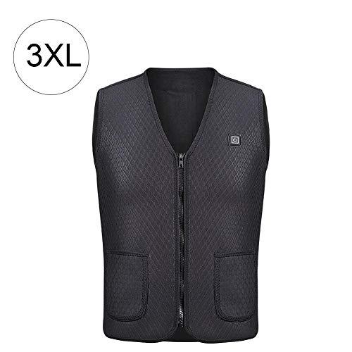 Colinsa Elektrische Beheizte Weste, USB-Lade beheizter Kleidung Warmer Down Vest beheizte Kleidung für Outdoor-Wanderung und Camp (Schwarz), 5 Größe Camp Vest
