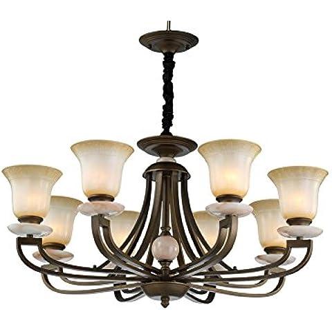 BJVB Lámparas de estilo americano Lámparas de salón de bronce Lámparas de techo decorativas