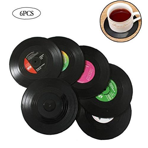 Cup-Untersetzer 6 PCs Environmental Plastic Vinyl Record Tabelle Platzdeckchen einfache und kreative Tasse Coaster hitzebeständig für Essen