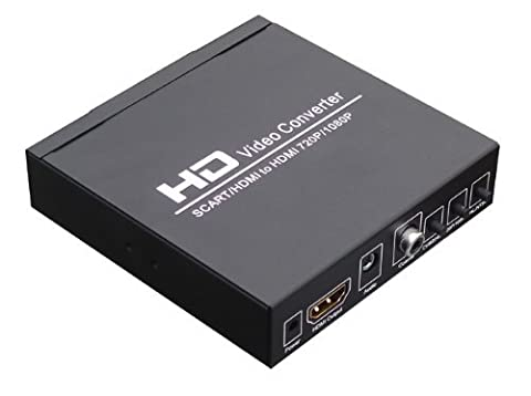 SCART +HDMI to HDMI converter :convert 480I(NTSC)/576I(PAL) format signal to 720P/1080P HDMI signal output, Easily connect with the DVD, set-top box, HD player, Game Console (PS2 PS3 PSP,WII,XBOX360