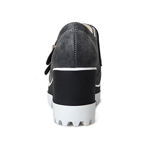 AgooLar Damen Hoher Absatz Weiches Material Rein Schnalle Rund Zehe Pumps Schuhe Schwarz