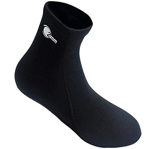 TZTED Tauchsocken Neoprensocken 2mm-Dicke Wassersport Tauchen Schwimmen Socken, Strandschuhe Wassersport Surfschuhe,Black,XL(44~45)