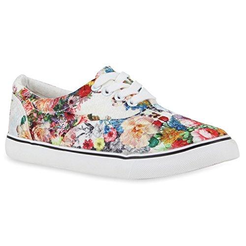 Flache Damen Sneakers Low Bunte Blumen Prints Weiß