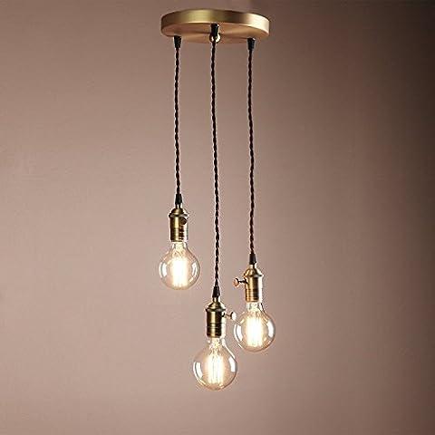 Industrielle Lustre Vintage Loft Edison Cluster Retro luminaire pendentif 3 lumières E27 Base Pour le Corridor, Véranda, Chambre, Salle de Bains, Salle à Manger,salon 250*250
