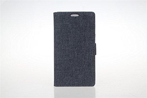 LG G3 Stylus D690 Hülle,LG G3 Stylus D690 Tasche,LG G3 Stylus D690 Schutzhülle,LG G3 Stylus D690 Hülle Case,LG G3 Stylus D690 Leder Cover,Cozy hut [Burlap - Muster-Mappen-Kasten] echten Premium Leinwand Flip Folio Denim Abdeckungs-Fall, Slim Case mit Ständer Funktion und Identifikation-Kreditkarte Slots für LG G3 Stylus D690 (5,5 Zoll) - schwarz