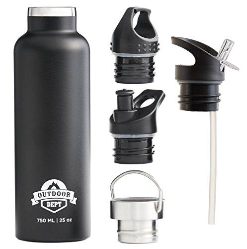 Gourde isotherme à double paroi, Bouteille d'eau thermo réutilisable de 750 ml avec bouchon hermétique, pour le sport, camping, vélo, pour enfants à l'école, sur la route, en randonnée