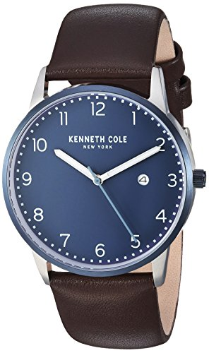 Kenneth Cole New York Men's Quartz Stainless Steel and Leather Casual Watch, Color:Brown (Model: KC50221003)
