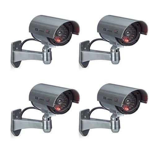 4 x Dummy Kamera im Sicherheits Set, CCD Kamera mit LED, schwenkbare Sicherheitskamera, für außen und innen