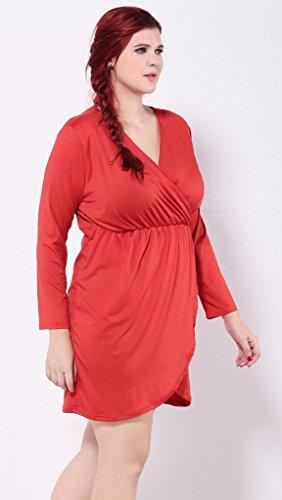 Bigood Robe Femme Grande Taille Manches Longues Col V Fendu Soirée Cocktail Mode Rouge