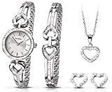 Sekonda - El conjunto de reloj, pulsera, colgante de corazón y pendientes de plata perfecto como regalo de Navidad