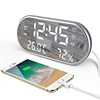 Genround Digital Alarm Clock, Alarm Clocks Bedside Non Ticking, Mirror Display with Time, Humidity, Temperature/Charging for Phone/Auto Brightness/Adjustable Volume - for Home Bedroom Office
